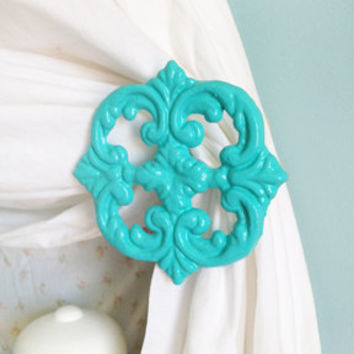 Curtain, Tie Back, Holdback, Turquoise, Tiebacks, Curtain Hooks, Curtain Accents, Set of Two, Shabby Chic