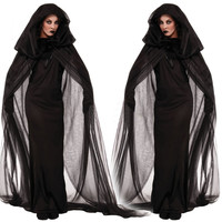 Woman Halloween Club Party Black Witch  Ghost Long Dress Costume