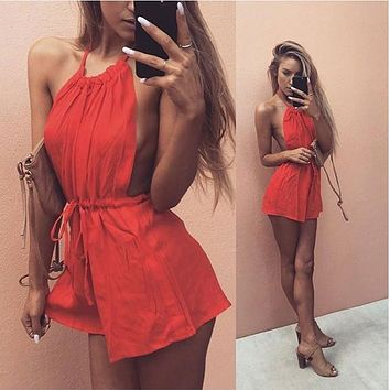 Sexy Rompers Womens Summer Jumpsuit 2016 High Waist Straps Backless Playsuit Sexy Sleeveless Short Jumpsuits Plus Size With Belt