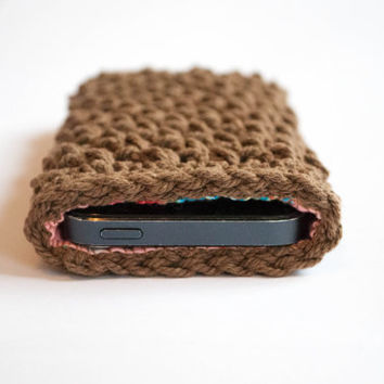 Iphone 5s case, Crocheted Iphone 5 case with lining, crochet Iphone 5 case, Iphone 5s sleeve,phone wallet,iphone 5 cover,Christmas gift idea