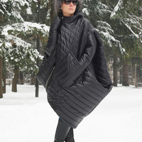 Waterproof Coat, Warm Coat, Winter Coat, Hooded Coat, Women Jacket, Quilted Coat, Plus Size Coat, Asymmetrical Jacket, Winter Jacket