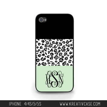 Personalized iPhone cases, iPhone 4 Case, iPhone 5 case, iPhone 4S, Leopard and Mint iPhone Case, Personalized iPhone Cover - K239