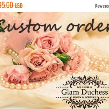 Custom order --Bridal jewelry, Bridal choker statement necklace earrings, vintage inspired Victorian pearl crystal necklace set