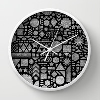 Modern Elements with Black. Wall Clock by Nick Nelson