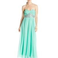 My Michelle Juniors' Long Strapless Prom Dress with Pleating at Bust