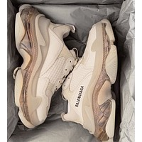 Vogew Balenciaga Daddy shoes Balenciaga Tripe-S air cushion crystal Apricot