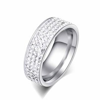 Titanium steel ring Stainless steel Ring 4 Rows Crystal Man / Woman Stainless Steel Ring Love Jewelry