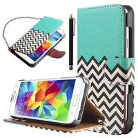 Galaxy S5 Case, ULAK Flip Synthetic Leather Wallet [Stand Feature] Wave Pattern Case for Samsung Galaxy S5 / Galaxy SV (2014) (Built-in Credit Card/ID Card Slot) (Follow the sky)