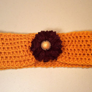 Crochet Headband with Flower, Women's Hairband, Crochet Headwrap, Fall, Winter Headband -  READY TO SHIP!