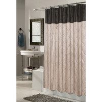Carnation Home Fashions Diamond Patterned Embroidered Polyester Shower Curtain & Reviews | Wayfair