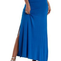 Electric Blue Double Slit Maxi Skirt by Charlotte Russe