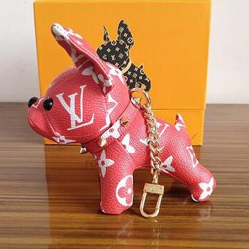 Louis Vuitton LV Classic Popular Cute Dog Bag Charm Bag Pendant And Key Holder Red