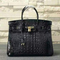 DCCK HERMES WOMEN'S CROCODILE LEATHER BIRKIN HANDBAG INCLINED SHOULDER BAG