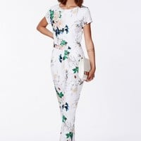 Missguided - Delia Floral Tailored Jumpsuit White