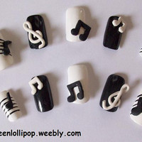 Japanese 3D Nail Art Set Music Notes by GreenLollipopDesigns