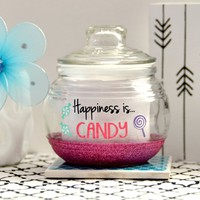 Happiness is Candy - Glass Candy Jar