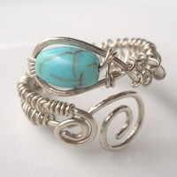 Turquoise Wrapped Hammered Silver Wire Ring
