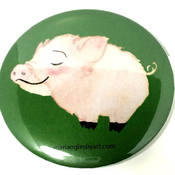 Cute Little Piglet Happy Watercolor Pinback Button, Adorable Baby Barnyard Animal Pin Back Button, Pin On Button Smiling Pig Watercolor Art