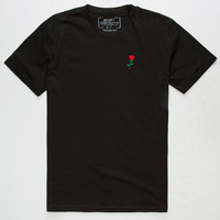 RIOT SOCIETY Rose Embroidery Mens T-Shirt   Solid + Stripe Tees