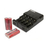 SYSMAX COMBO Intellicharge i4 Li-ion / NiMH Battery Charger V2 & (4) Ultrafire 3000 mAh 18650 Batteries