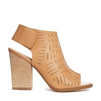 Report Signature Blade Laser Cut Heeled Ankle Boots - Tan