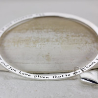 Secret Bangle Personalized On the Side with Your Words - Sterling Silver Bangle Bracelet - Silver Heart