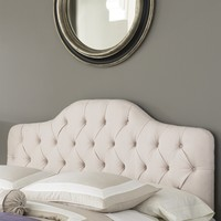 Full / Queen Size Ivory Color Button-Tufted Upholstered Headboard