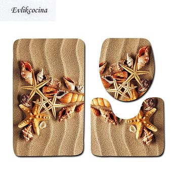 3 Pcs Beach Shells Ocean Bath Mats Anti Slip Bathroom Mat Set Tapete Banheiro Washable Toilet Rugs Alfombra Bano