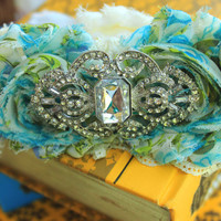 Prom Garter Rhinestone & Lace with Bling -MANY COLORS available- Shabby Chic garter, lace bridal garter, something blue wedding accessories
