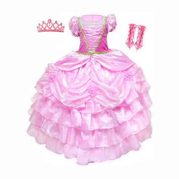 Sleeping Beauty Princess Aurora Girl's Dress, Gloves and Tiara Costume Set Sizes 4-9yr Express Delivery Before Halloween!