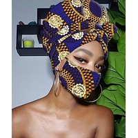 Imani Gye Nyame Gold Print Slip On Satin Lined Headwrap and Mask