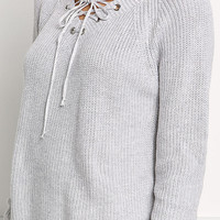 Light Grey Lace Up Sweater Top