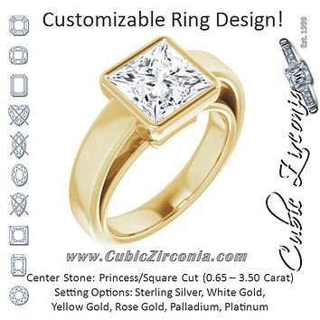 Cubic Zirconia Engagement Ring- The Dunyasha (Customizable Cathedral-Bezel Princess/Square Cut Solitaire with Wide Band)