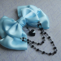 Pastel Goth Hair clip or Brooch blue bow with black glass heart and black beads