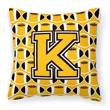 Letter K Football Black, Old Gold and White Fabric Decorative Pillow CJ1080-KPW1414
