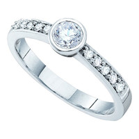Diamond Bridal Ring with 0.25ct Center Round Stone in 14k White Gold 0.39 ctw