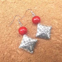 Red and Silver Tribal Earrings Tibetan Silver and Coral Womens Dangle Drop Earring Ethnic Tribal Jewelry