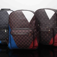 """Louis Vutitton"" Fashion Casual Multicolor Tartan Logo Backpack Large Capacity Double Shoulder Bag"