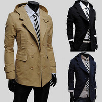 Slim Fit Double Breasted Trench Coat With Hood