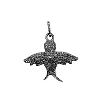 SP-9124-BR Sterling Silver Small Bird Pendant With Champagne Diamond and Black Rhodium Plated 30X27MM