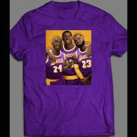 LAKER'S LEGENDS LEBRON JAMES, MAGIC JOHNSON, & KOBE BRYANT ART T-SHIRT