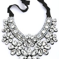 OVERSIZED TIED FLORAL CRYSTAL CLEAR BIB NECKLACE