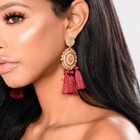 Tassel All The Way Earrings - Burgundy