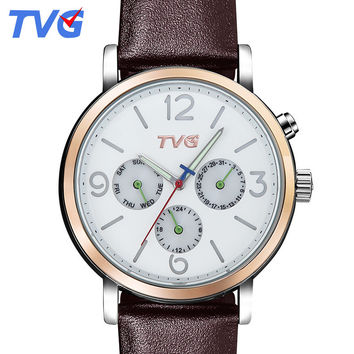 2016 TVG Brand Fashion Casual Quartz Watch Quality Japanese raw material waterproof Date display Men Leather strap wristwatch