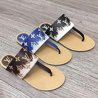 LV Louis Vuitton New Flat Bottom All-match Soft Bottom Flip Flop Sandals Slippers Shoes
