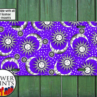 Purple Sun Stars And Moon Pattern Space Cute Design For Front License Plate Car Tag One Size Fits All Vehicle Custom