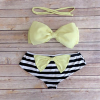 Bow Bandeau Bikini - Cheeky Boy Short Style Swimwear -  With Bow on Butt  - Lemon with Stripes - Unique & So Cute!