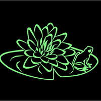 Lily Pad Frog Decal Floral Decal Lily Pad Decal Frog Decal Custom Vinyl Computer Laptop Car auto vehicle window decal custom sticker Decal