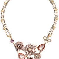 """Betsey Johnson """"Pinktina"""" Patina Flower and Skull Cluster Necklace, 16"""""""