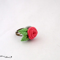 Pink Rose Ring, Flower Ring, Floral Ring, Gifts for sister, Gifts for her, Polymer Clay Ring, Polymer Clay Jewelry, Black friday sale